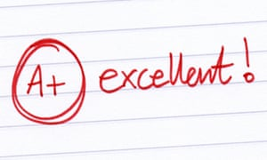 grading of 'excellent' in red pen