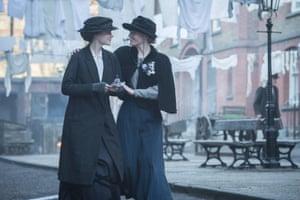 Carey Mulligan (Maud) and Anne-Marie Duff (Violet) in Suffragette.