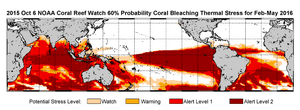 February-May 2016 NOAA's extended bleaching outlook showing the threat of bleaching moving from the Pacific into the Coral Trianlge bioregion