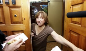Alexievich  ound herself at the other end of the media lens when she opened the door of her Minsk apartment today.