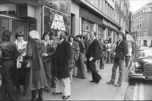 Queues of people in Leicester Square on 28 December 1977.