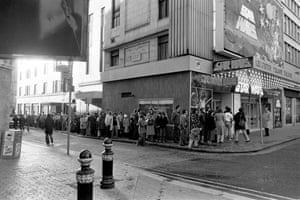 Wide shot of the queue for Star Wars at the Leicester Square Theatre on the day of release