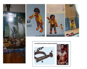 Aimee Norman, mother of the boy, posted this composite image on the Playmobil Facebook page of the figure she said was racist.
