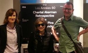 Chantal Akerman (centre) with Joanna Hogg and Adam Roberts.