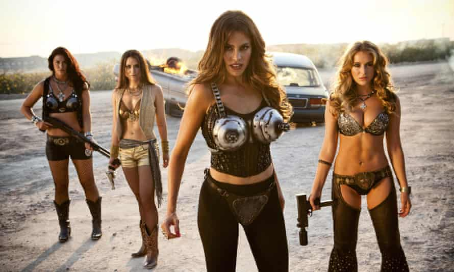 From the film Machete Kills. These elaborate bras aren't for protection, they're to contain the fearsome power of the breasts.