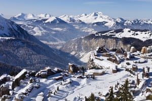 Avoriaz with a view of Morzine and the Roc d'Enfer.