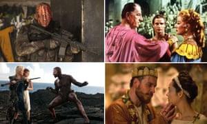 Clout versus doubt … clockwise from top left: Coriolanus (2011); Julius Caesar (1953); Macbeth (2015); The Tempest (2010).