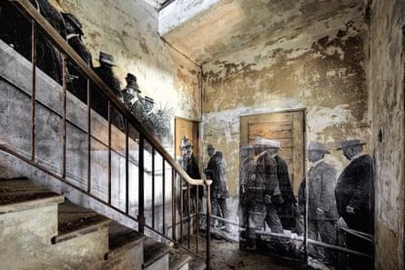 A detail of JR's installation on Ellis Island.