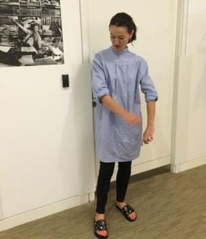 Lauren Cochrane wearing a back to front shirt.