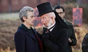 Doctor Who (Peter Capaldi), Prentis (Paul Kaye) and Bennett (Arsher Ali).