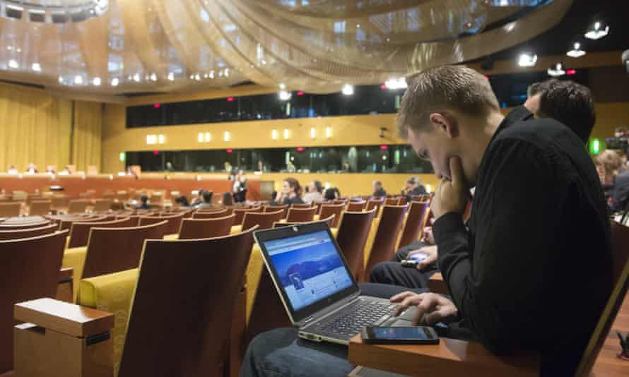 Austrian Max Schrems waits for a verdict at the European Court of Justice