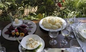 Dishes of Pizzelle e ricotta di pecora, Masseria Il Frantoio, Puglia, Italy