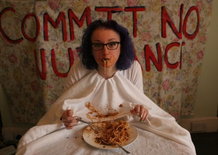 Rebecca Jackson's wearable tablecloth, for the Art Of Nuisance project.