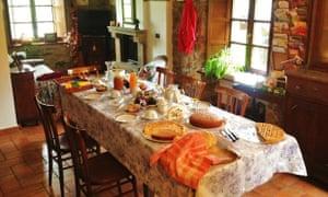 A table laid with food at Agriturismo Funghi e Fate, Emilia-Romagna