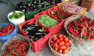 Fresh produce outisde the kitchen at Agriturismo Caniloro, Abruzzo