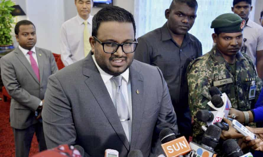 The Maldives' vice-president, Ahmed Adeeb, who is under arrest over what the government says was a  plot to kill the president.