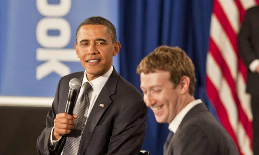 Barack Obama visits Facebook founder Mark Zuckerberg on the campaign trail in 2011