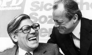 Helmut Schmidt, left, joking with Willy Brandt in 1975.