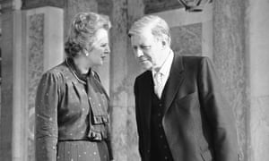 Helmut Schmidt with Margaret Thatcher in 1982.