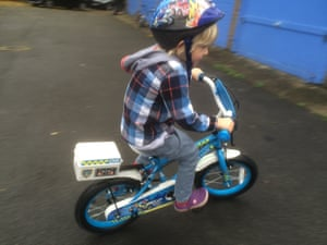 Jack tries out the Apollo Police Patrol bike.