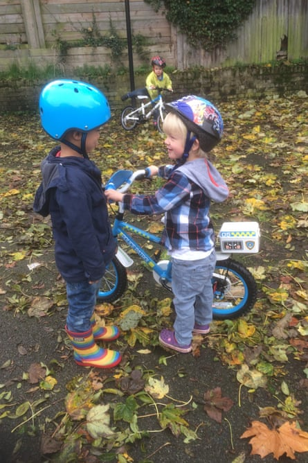 Jacob and Jack discuss who gets to ride the Apollo Police Patrol.