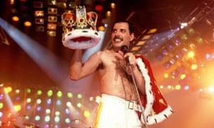 Freddie Mercury holds a crown in 1985.