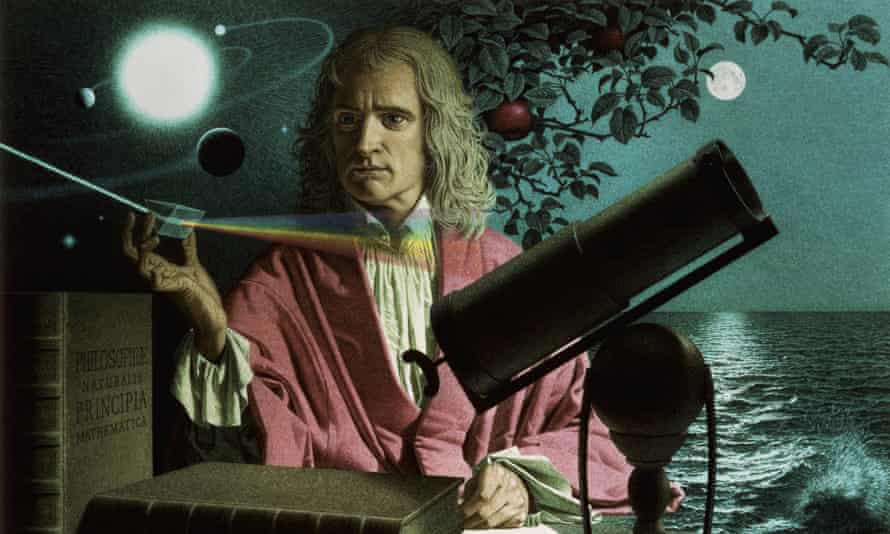 Modern semi-realistic portrait of grey-blonde Newton in a pink cloak and white open throated shirt; background shows a solar system top left, an apple tree branch centre, and a moon-lit ocean to the right; foreground shows two large books and a telescope. Newton is splitting a beam of light into a rainbow using a prism.