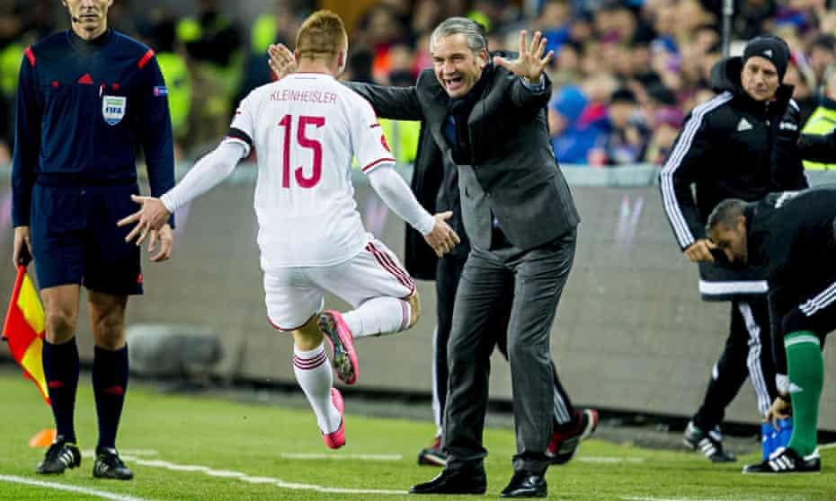 Laszlo Kleinheisler celebrates scoring Hungary's winner