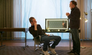 Michael Fassbender and director Danny Boyle on the set of the film Steve Jobs