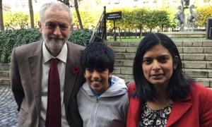 Jeremy Corbyn, Rupa Huq and her son