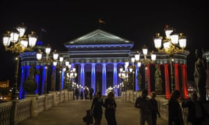 The Museum of Archeology of Macedonia illuminated in the French national colours.