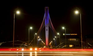 Podgorica's Millennium bridge illuminated with the colours of the French flag in Montenegro.