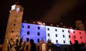 Bratislava Castle is lit up in the red, white and blue, of the French flag.