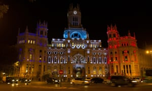 The Town Hall in Madrid is lit up.
