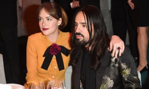 Creative Director of Gucci Alessandro Michele with Dakota Johnson earlier this month.