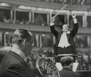 Sir Henry Wood conducts at the Royal Albert Hall, 1938.