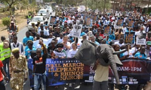 Kenyan take to the streets in support of elephants and rhinos. Global March for Elephants and Rhinos, Nairobi, October 3rd, 2015.