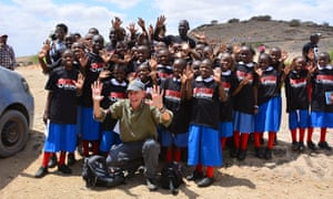 US Ambassador Robert Godec with school children from Nairobi on a visit to Amboseli National Park. World Elephant Day, 12 August 2015