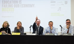 Brendan Murden from consultancy CEL (centre) chairs the Guardian Live/Discuss panel debate about the future of education (l-r) Melissa Benn, Debra Kidd, Nick Bent, Alun Francis