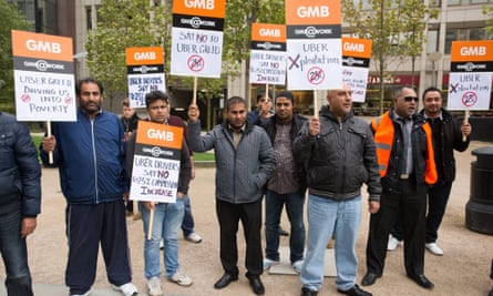 Uber drivers protesting outside the firm's London offices on 12 November 2015