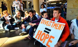 Students       protesting at Stanford for fossil fuel divestment.