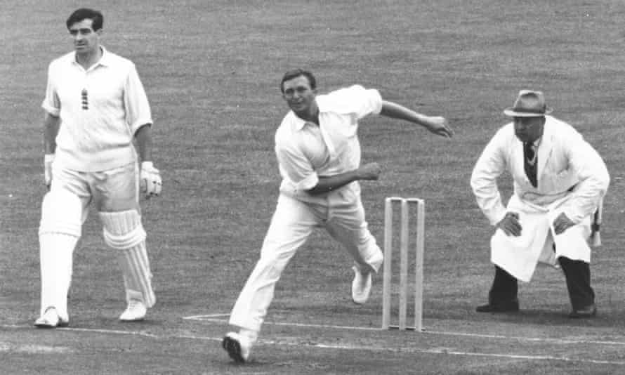 Richie Benaud in action at Edgbaston during the 1961 Ashes.