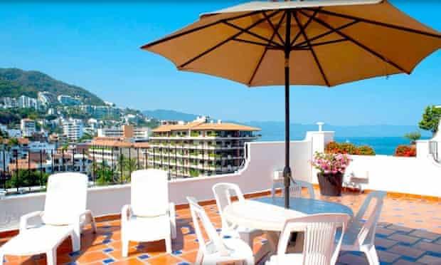 The sun terrace overlooking the sea at Eloisa Hotel, Puerto Vallarta, Jalisco, Mexico