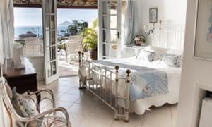 Bedroom view, overlooking the beach and sea at Casa Bahia Bonita, Yelapa, Jalisco, Mexico.