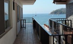 View from a room balcony, towards the sea, at Hotel Palacios, Zihuatanejo, Guerrero, Mexico