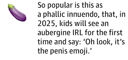 So popular is this as aphallic innuendo, that, in 2025, kids will see an aubergine IRL for the first time and say: 'Oh look, it's the penisemoji.'