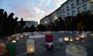 Candle light vigil to the victims of the Paris attacks in Brussels' Molenbeek district