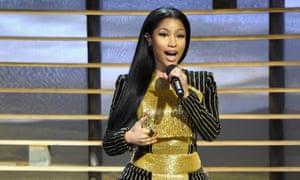 Nicki Minaj speaks onstage at A+E Networks Shining A Light concert.