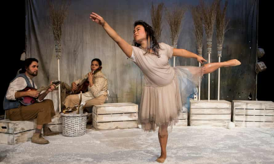 """""""It was so wintery it made me shiver"""" ... Mark Pearce, Paula James and Mei Mac in Snow Child."""
