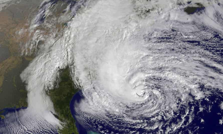 "Hurricane Sandy churns off the US east coast on October 28, 2012.  Sandy struck during what some claim is a ""hurricane drought""."